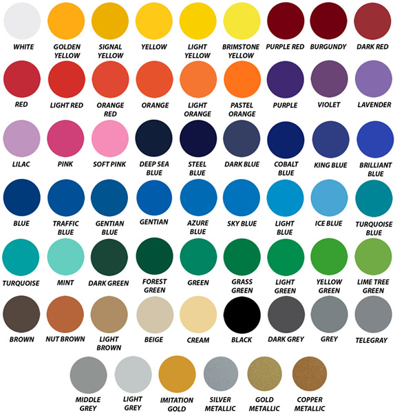 Decal Vinyl Color Chart